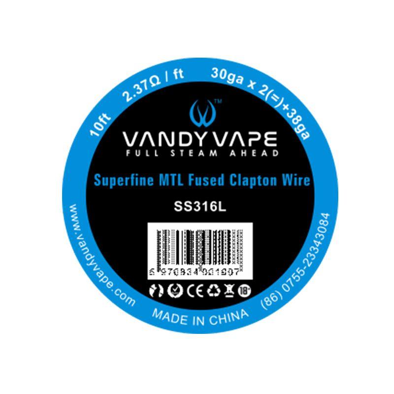 Fio Superfine MTL Fused Clapton SS316 30gaX2 + 38ga Vandy Vape