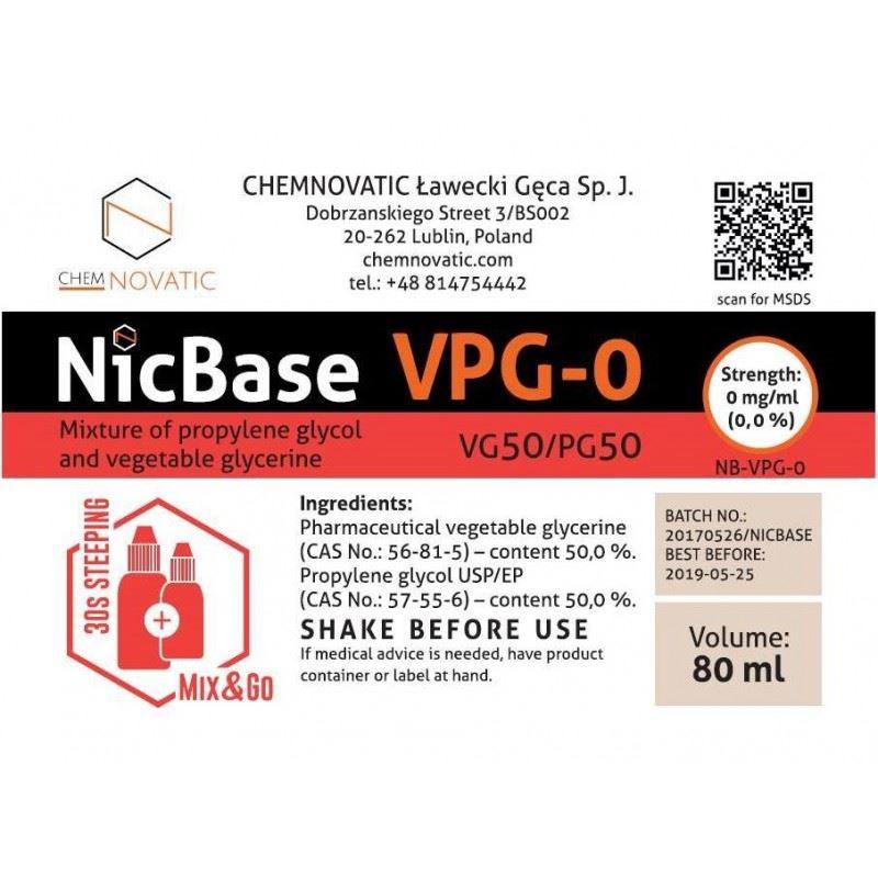 Base Chemnovatic VPG-0 50VG/50PG 80ml Mix & Go